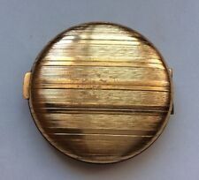 Looks Old Vintage Merle Norman Striped Gold Tone Powder Compact