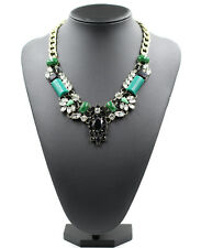 ZARA BEAUTIFUL GREEN BLACK CLEAR STONES GOLD NECKLACE NEW