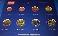 AUTRICHE  2005 : SERIE 8 MONNAIES 1 CENT à 2 € - UNC
