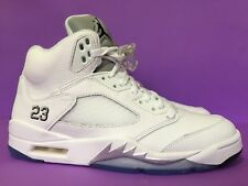 NEW AIR JORDAN 5 RETRO SIZE US9 UK8 WHITE METALLIC SILVER 136027-130