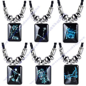 12 Style 24'' Zodiac Star Sign Mens Dads Mum BF GF Gift Pendant Chain Necklace