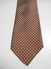 Cotswold Collection by J.S. Blank Brown White and Red Silk Geometric Necktie