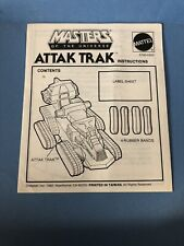 Vintage 1981 He Man Masters Of The Universe MOTU Attak Trak Instruction Manual