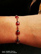 "10k Yellow Gold Red & Black Enamel 3d Ladybird Bracelet 7.5"" Long"