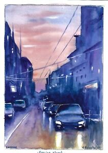 original painting A4 91BOK art samovar Watercolor cityscape Evening street