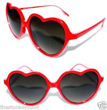Heart Shaped Sunglasses Vintage Red Frame  Black Lenses Valentine retro Lolita