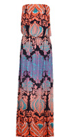 BNWT Womens Size 8,12 Tribal Turquoise Coral Black Summer Strapless Maxi Dress