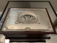 Vintage Silver And Leather Jewlery Box