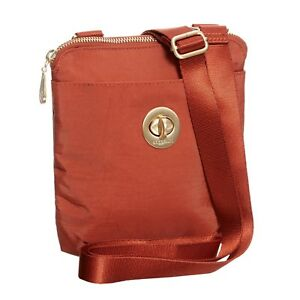 baggallini RFID Mini Crossbody Bag Orange Gold-tone Hardware Water-resistant NEW