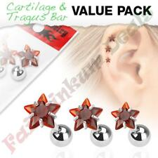 316L Surgical Steel Tragus/Cartilage Stud with Red Jewelled Star 3 Piece Pack