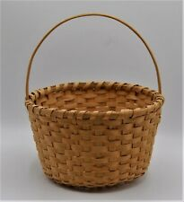 Wood Splint Basket Country Rustic Handle White Ash Medium Blond Warm Patina Db07