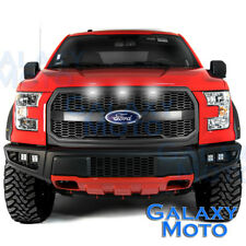 15-17 F150 Raptor Style Matte Black Mesh Grille w/Emblem Housing+White LED light
