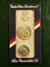 More details for 1776-1976 s us bicentennial uncirculated 3 coin silver set in original packaging