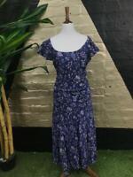 Original Vintage 80s Laura Ashley Cotton Blue Dress Floral print Size 14