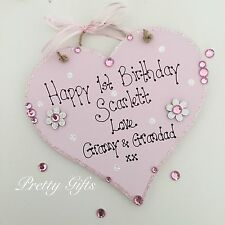 Personalised Handmade Sparkly 1st Birthday Girl Boy Heart Keepsake Gift Plaque