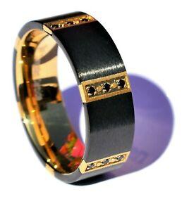 Tungsten Carbide Black Ring Men's Wedding Engagement Band with black Diamonds