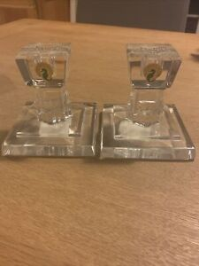 """WATERFORD METROPOLITAN CRYSTAL CANDLESTICK PAIR 4"""" MADE IN IRELAND NEW"""