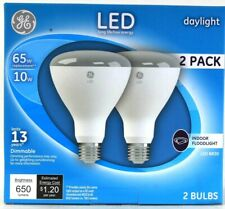 1 Box GE LED BR30 Daylight 10w Dimmable 650 Lumens Indoor Floodlight 2 Ct Bulbs