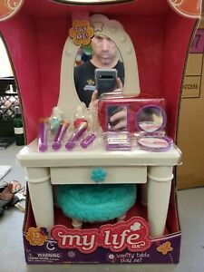 "MY LIFE AS 13 PIECE VANITY TABLE PLAY SET, FOR 18"" DOLLS *DISTRESSED PKG*"