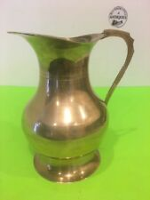 Vintage Footed Brass Water Pitcher Mug 7.75'' Tall made in India