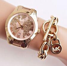 Original Michael Kors Uhr Damenuhr MK6476 Layton Weltkarte Rose Gold/Gold NEU!