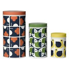 "Orla Kiely Set of 3 Assorted ""Animals"" Design Storage Tins - New & Boxed!"