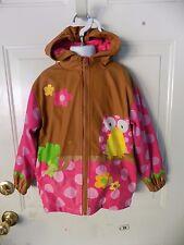 Stephen Joseph Little Girls'  Brown Rain Coat Owl Size 4/5 Girl's EUC
