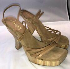 NWOB Women's Luichiny Wooden High Heel Platform Strappy Sandals - Size 9 M