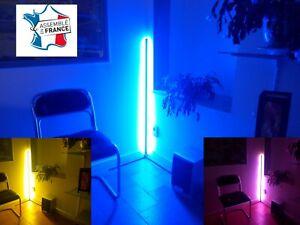 Lampadaire LED d'angle salon moderne lampe de coin blanc chaud RGB télécommande