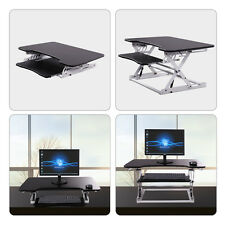 Desktop Tabletop Standing Desk Adjustable Height Sit to Stand Workstation BLK&WH