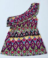 SELF ESTEEM RUFFLED ONE SHOULDER JERSEY TOP SOUTHWEST AZTEC JUNIOR SIZE LARGE
