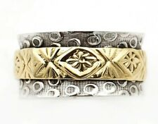 Two Tone Handmade Hammered 925 Sterling Silver Band Ring Jewelry Sz 7.5 CT32-8