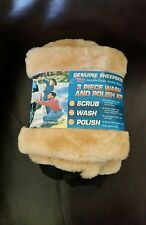 Wash and Polish Mitt 3-pack Sheepskin for Car Polishing Cleaning Mitts Duster