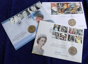 Great Britain, 3x BU £5 Coin Covers, 2002 2003 & 2012 QEII Jubilees (Ref. t4206)