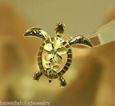 20mm Hawaiian 14k Yellow Gold Over Silver Petroglyph Turtle Plumeria CZ Pendant