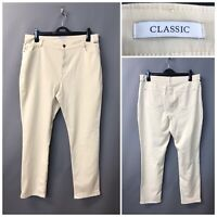M&S Classic Stone Cream Women's Jeans Trousers UK 18 EUR 46 Long Cotton Blend