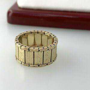 Wide Band Ring Detailed in 14k Solid Yellow Gold Sz 5.75