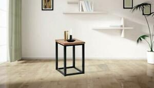 WOODEN & IRON BEDSIDE NIGHT STAND TABLE / END TABLE STOOL FOR BEDROOM - BLACK