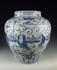 Chinese Antique Blue&White Eight Immortal Beings Porcelain Pot