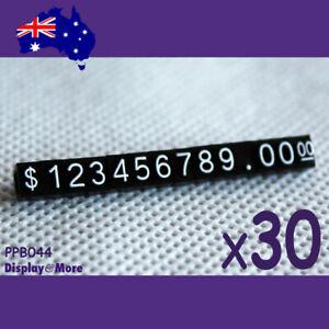 Price Tag CUBE Retail Sale | 30 Sets | Mini | WHITE Numeral on Black | OZ Seller