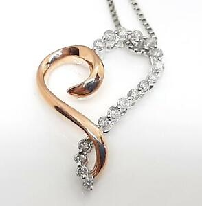 Genuine .34ctw H-SI Diamond 14K Rose Gold 925 Sterling Silver Heart Necklace 3g