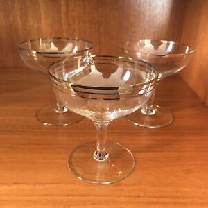 Vintage Champagne Coupes Glasses Gilt Gold Rim