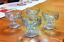"""SET OF 4 - FOOTED CLEAR CUT GLASS 3 1/8"""" DESSERT BOWLS"""