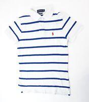 Ralph Lauren Poloshirt Polohemd Herren Gr.XS weiß gestreift Knopf Piquè -S1293
