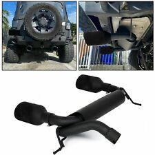 New Black Dual CatBack Exhaust Muffler System 2 4DR Fit 07-17 Jeep Wrangler JK