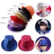 Kids Sequins Cap Gilding Party Jazz Hat Rainbow Boy Girl Glitter Dance Show Hat