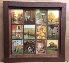 Vintage Window Pane Picture Home Interiors - Barn Pumpkin Fall Wagon Milk Cans