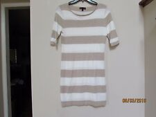 Juniors size S t/o Sweaters Striped Tight Body Dress Tan White Thin NWOT New