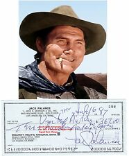 JACK PALANCE  FILM STAR ACTOR  HAND SIGNED BANK CHEQUE / CHECK  1987  VERY RARE