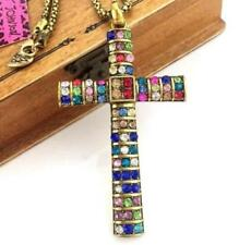 color cross hot fashion necklace Pendant Betsey Johnson rhinestone jewelry
